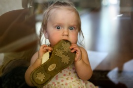 Image result for baby chewing on shoes